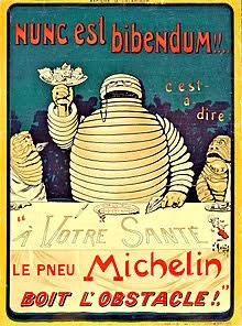 """A poster by """"O'Galop"""" of Bibendum, the Michelin Man, produced in 1898."""